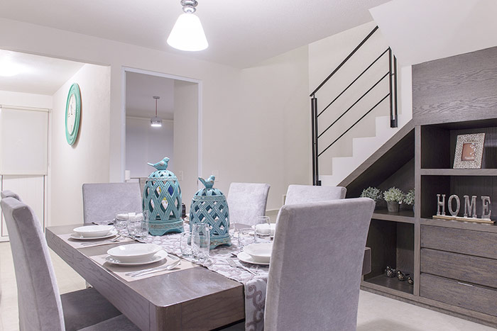 comedor casa modelo encino tres cantos residencial querétaro