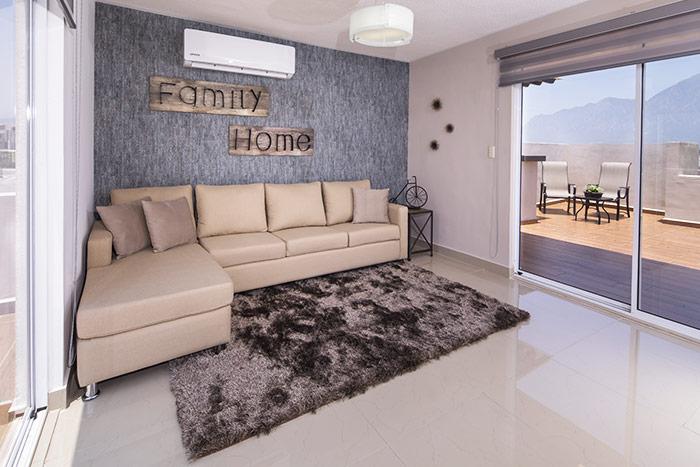 sala familiar casa modelo berceo cumbres de la rioja nuevo león