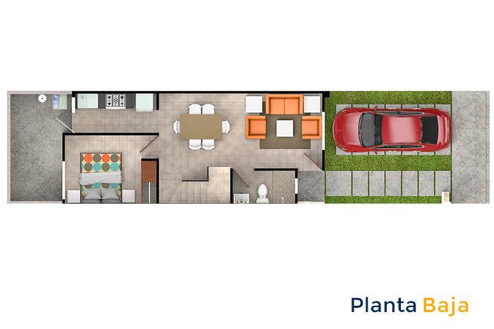 planta baja modelo encino tres cantos residencial querétaro