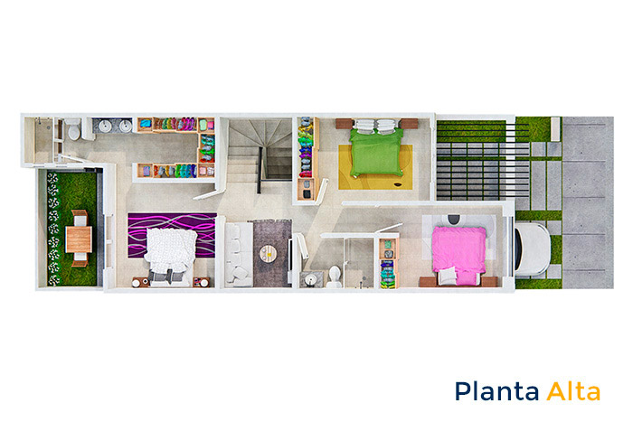 Planta Alta casa modelo Almendro Tres Cantos Residencial Querétaro