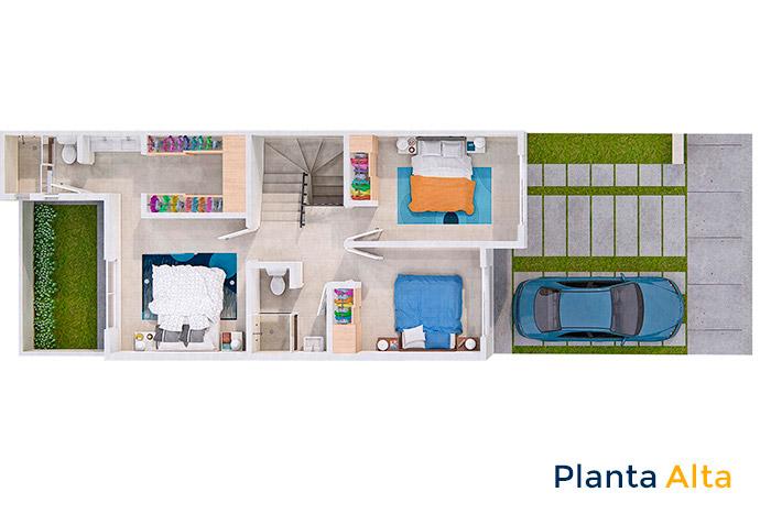 Planta alta casa modelo cedro Tres Cantos Residencial