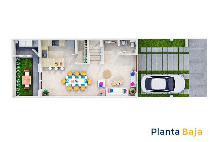 Planta baja casa modelo Almendro Tres Cantos Residencial Querétaro