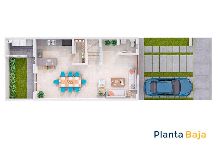 Planta baja casa modelo cedro Tres Cantos Residencial
