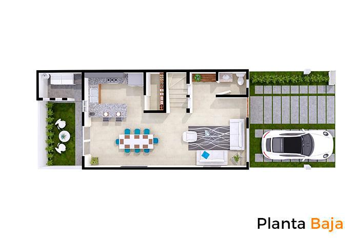 Planta baja modelo Almendro, Paseos del Bosque 3 Residencial