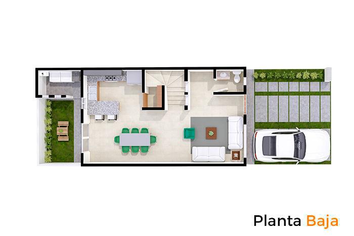 Planta baja modelo Cedro, Paseos del Bosque 3 Residencial