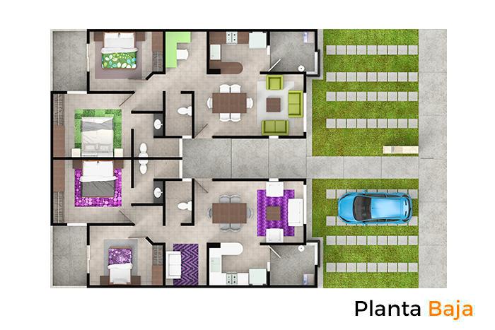 Planta baja modelo Olmo, Paseos del Bosque 3 Residencial
