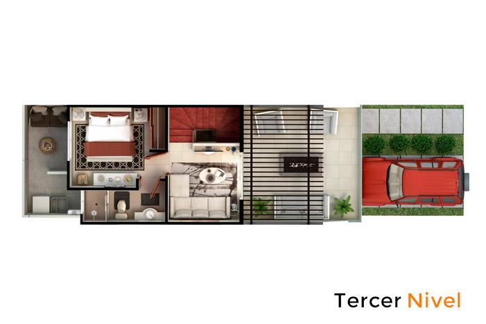 Tercer Nivel casa modelo Fresno, Paseos del Bosque 2